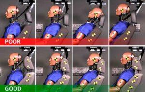 diferença dos encostos de cabeça em caso se colisão traseira