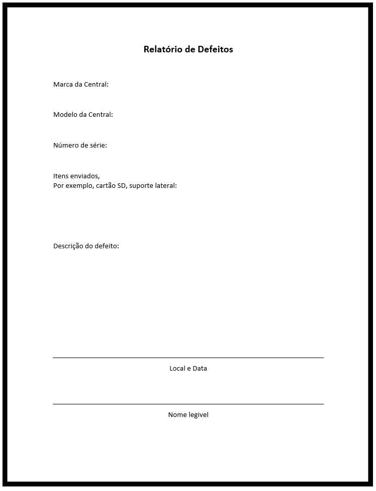 Exemplo de Relatório de Defeitos