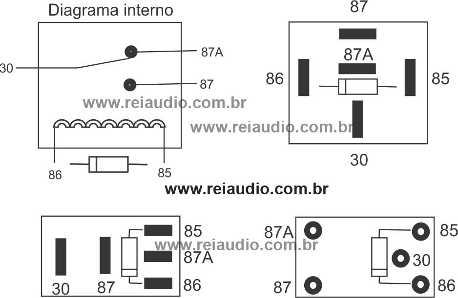 Diagrama de Reles para ligação de câmera de ré